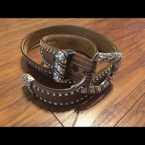 Accessories - WESTERN LEATHER BLING BELT JUSTIN